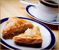 Baklava with coffee is really good